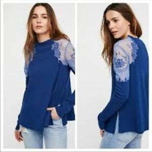 Free People Navy Daniella Embroidered Sweater